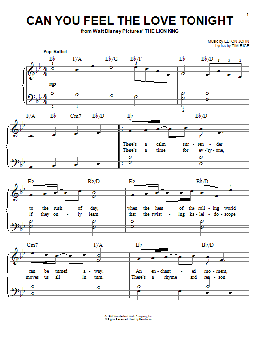 Can you feel the love tonight(lion king) kyle landry sheet music.