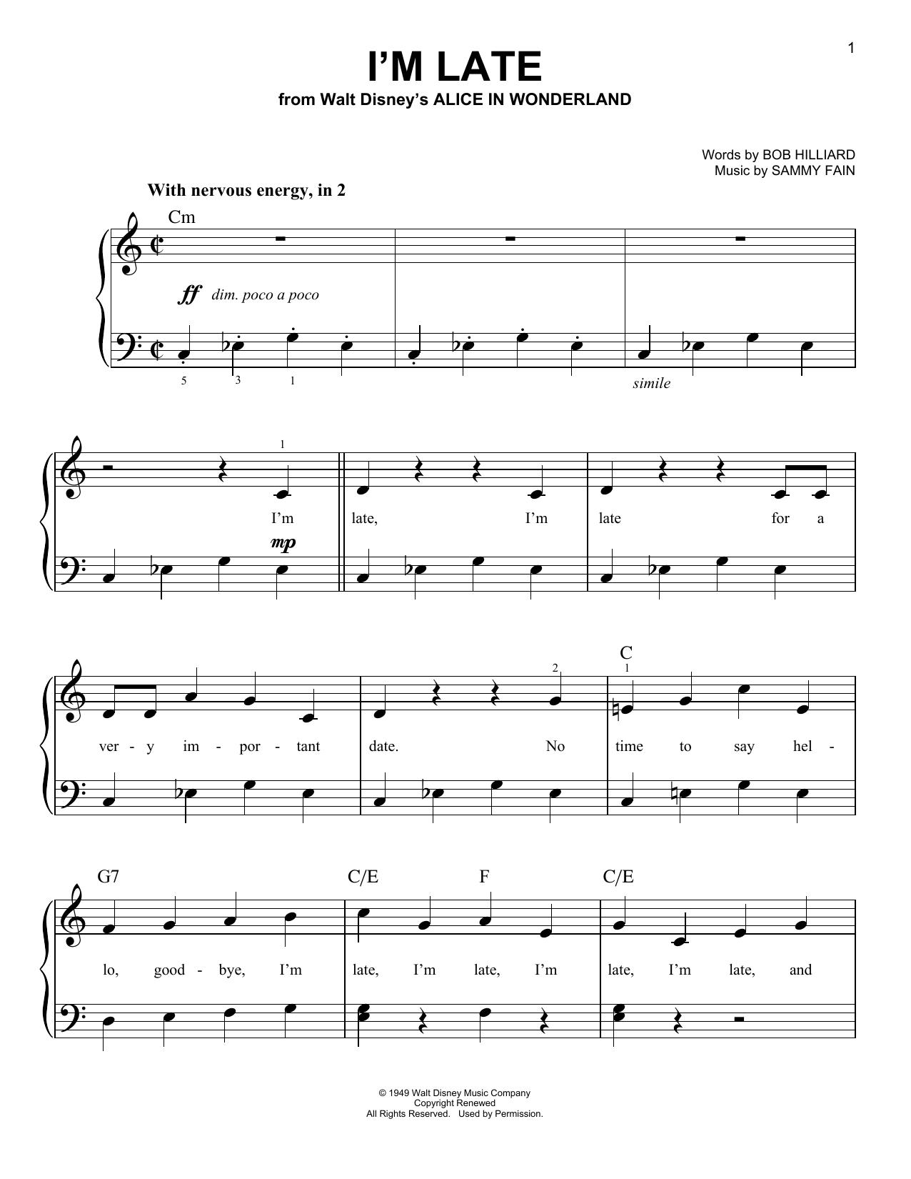 Partition piano I'm Late de Sammy Fain - Piano Facile