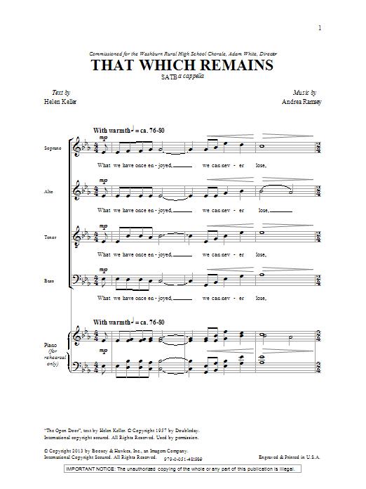 That Which Remains (SATB Choir)