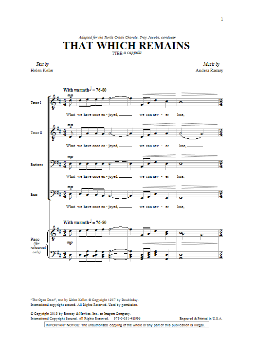 That Which Remains Sheet Music