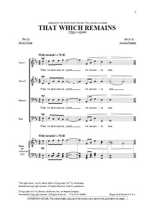 That Which Remains (TTBB Choir)