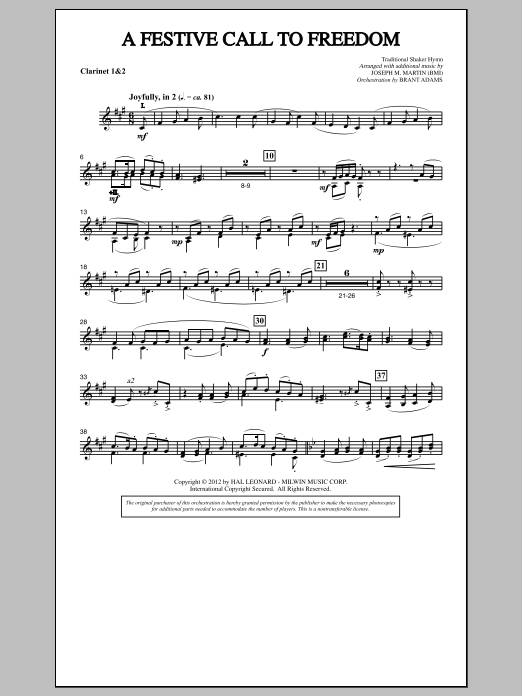 A Festive Call to Freedom - 1st & 2nd Bb Clarinet (Choir Instrumental Pak)
