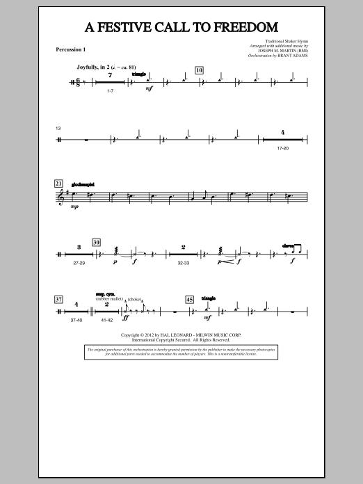 A Festive Call to Freedom - Percussion 1 (Choir Instrumental Pak)