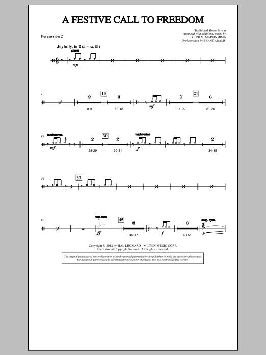 A Festive Call to Freedom - Percussion 2 (Choir Instrumental Pak)