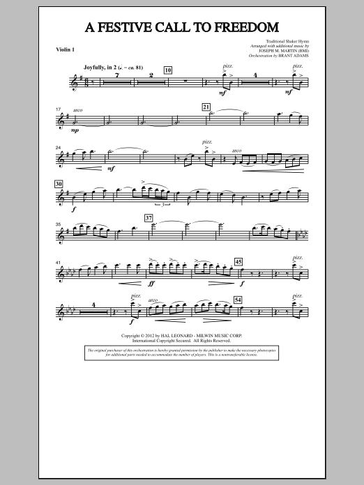 A Festive Call to Freedom - Violin 1 (Choir Instrumental Pak)