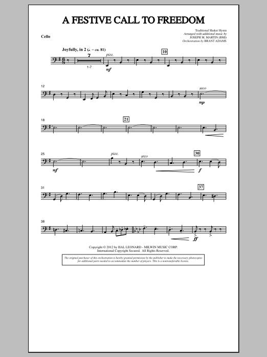A Festive Call to Freedom - Cello (Choir Instrumental Pak)