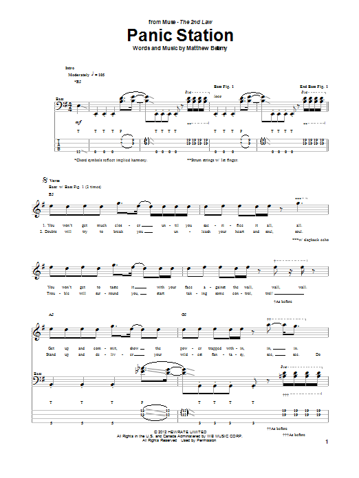 Panic Station Sheet Music Muse Bass Guitar Tab