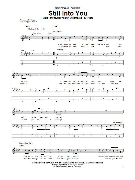 Still Into You Bass Guitar Tab by Paramore (Bass Guitar Tab – 99957)