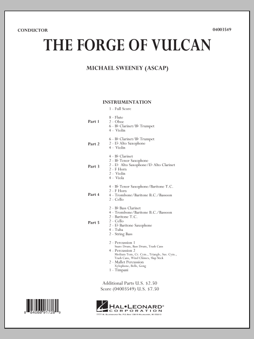 The Forge of Vulcan (COMPLETE) sheet music for concert band by Michael Sweeney. Score Image Preview.