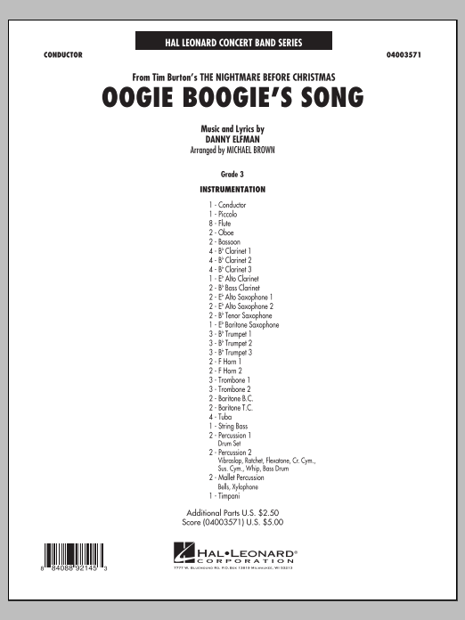 Oogie Boogie's Song (from The Nightmare Before Christmas) (COMPLETE) sheet music for concert band by Danny Elfman and Michael Brown. Score Image Preview.