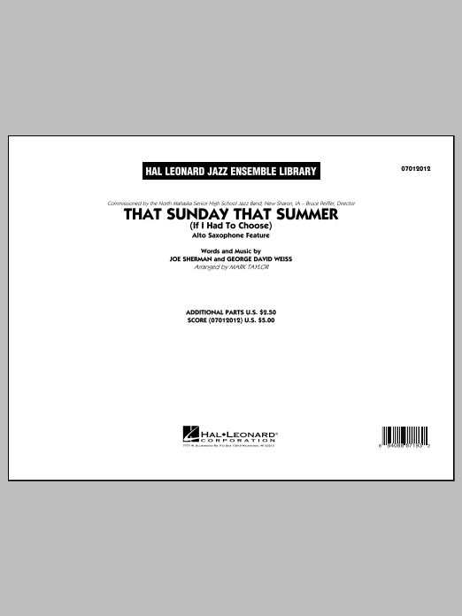 That Sunday That Summer (If I Had to Choose) (COMPLETE) sheet music for jazz band by Mark Taylor. Score Image Preview.
