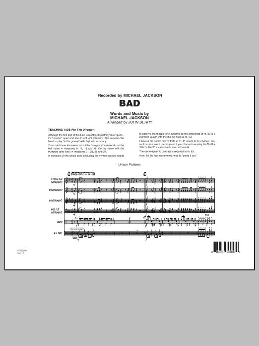 Bad - Conductor Score (Full Score) (Jazz Ensemble)