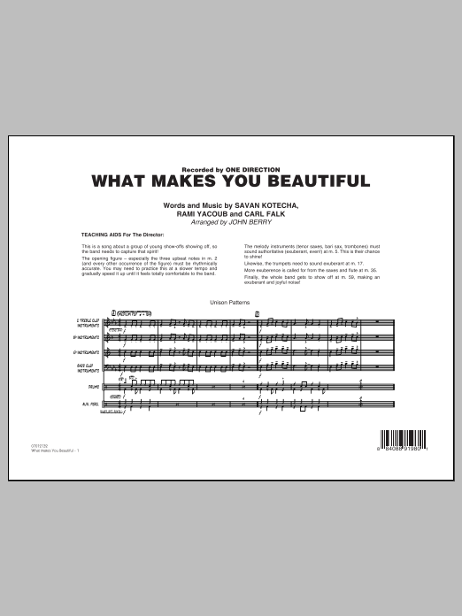 What Makes You Beautiful (COMPLETE) sheet music for jazz band by One Direction and John Berry. Score Image Preview.