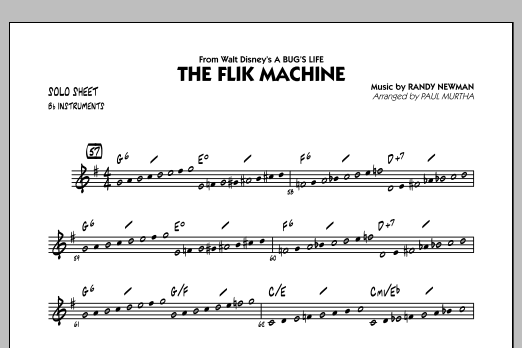 The Flik Machine (from A Bug's Life) - Bb Solo Sheet (Jazz Ensemble)