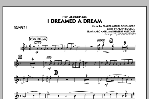 I Dreamed a Dream (from Les Miserables) - Trumpet 1 (Jazz Ensemble)