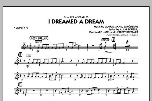 I Dreamed a Dream (from Les Miserables) - Trumpet 3 (Jazz Ensemble)