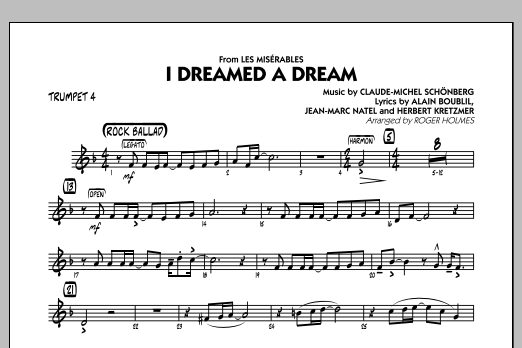 I Dreamed a Dream (from Les Miserables) - Trumpet 4 (Jazz Ensemble)