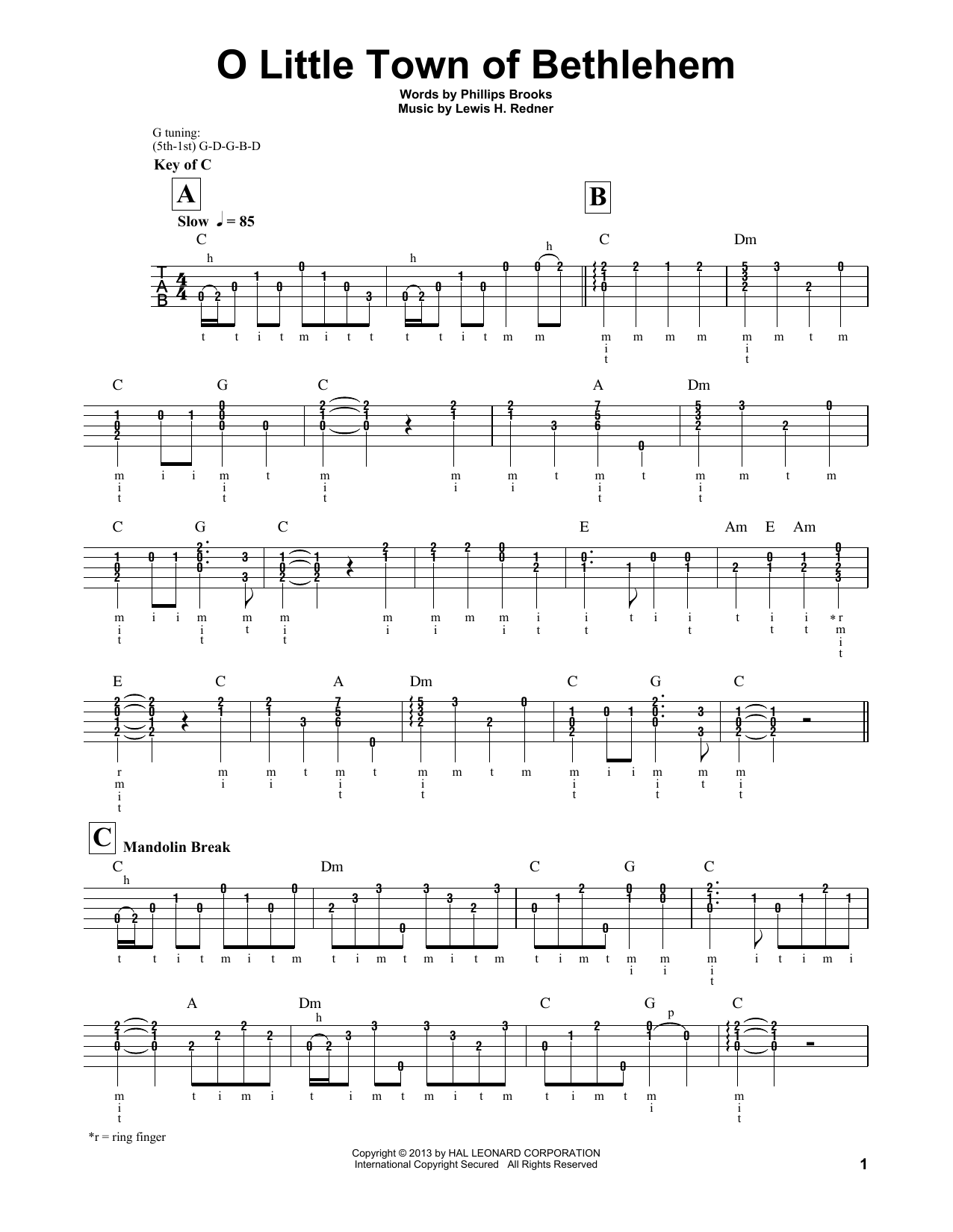 O Little Town Of Bethlehem (Banjo Tab)