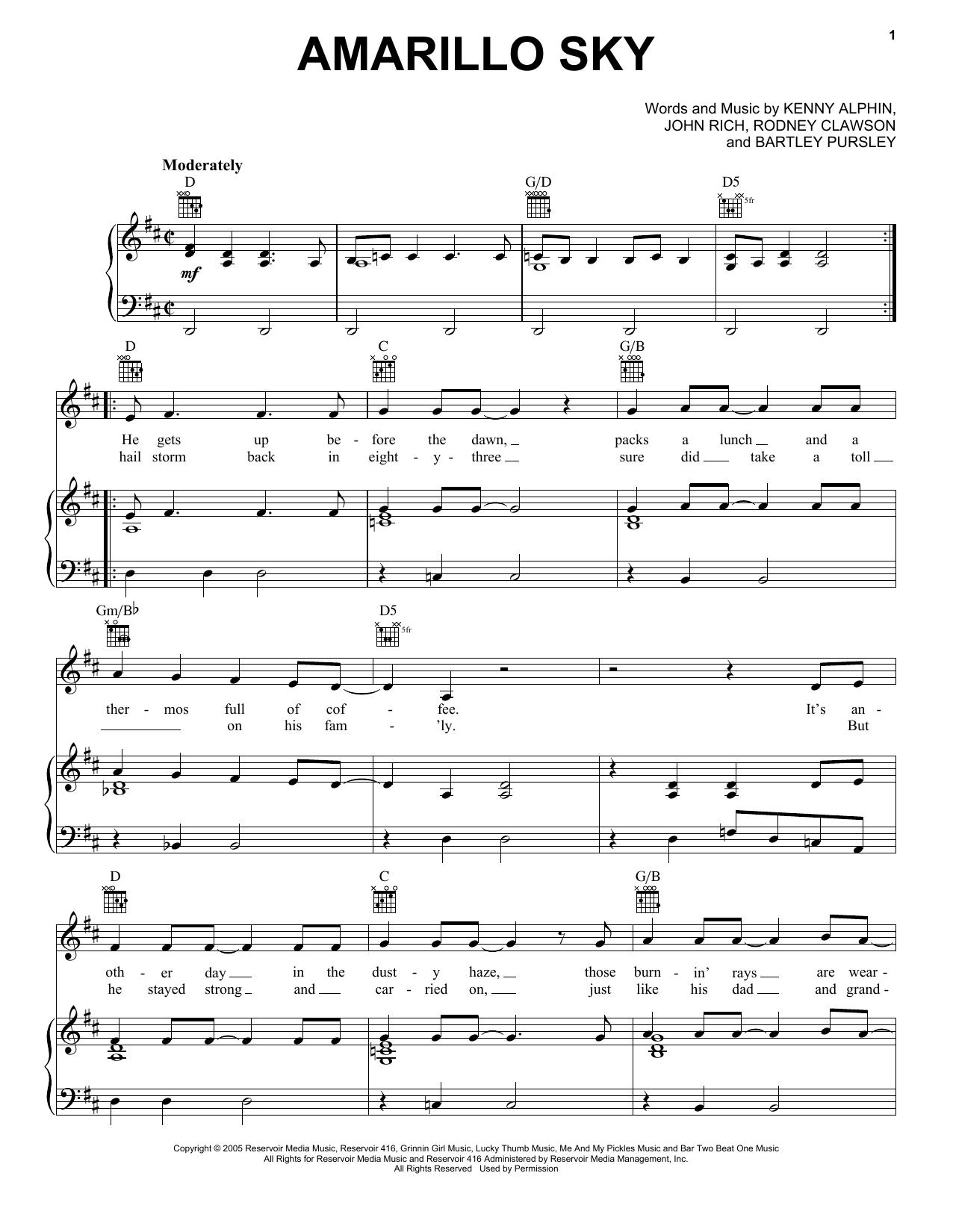 Amarillo Sky Sheet Music