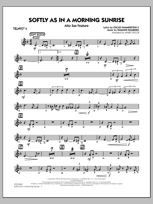 Softly as in a Morning Sunrise - Trumpet 4 (Jazz Ensemble)