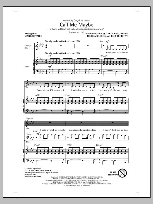 Partition chorale Call Me Maybe de Carly Rae Jepsen - SATB