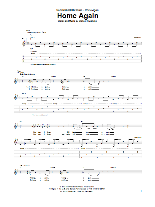 Home Again (Guitar Tab)
