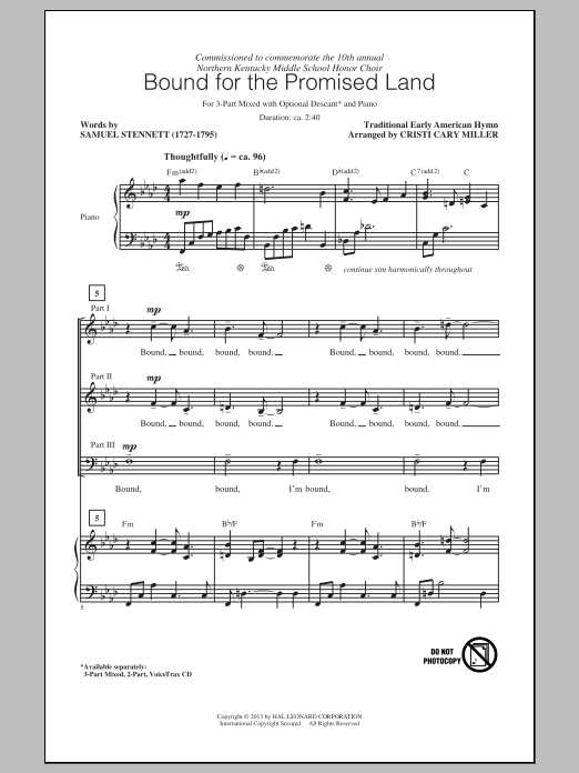 Bound For The Promised Land (arr. Cristi Cary Miller) Sheet Music