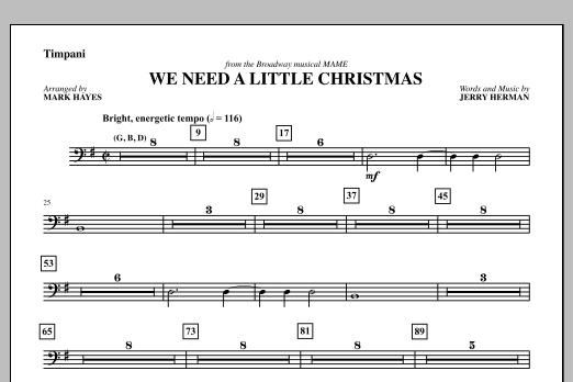 We Need a Little Christmas - Timpani Sheet Music