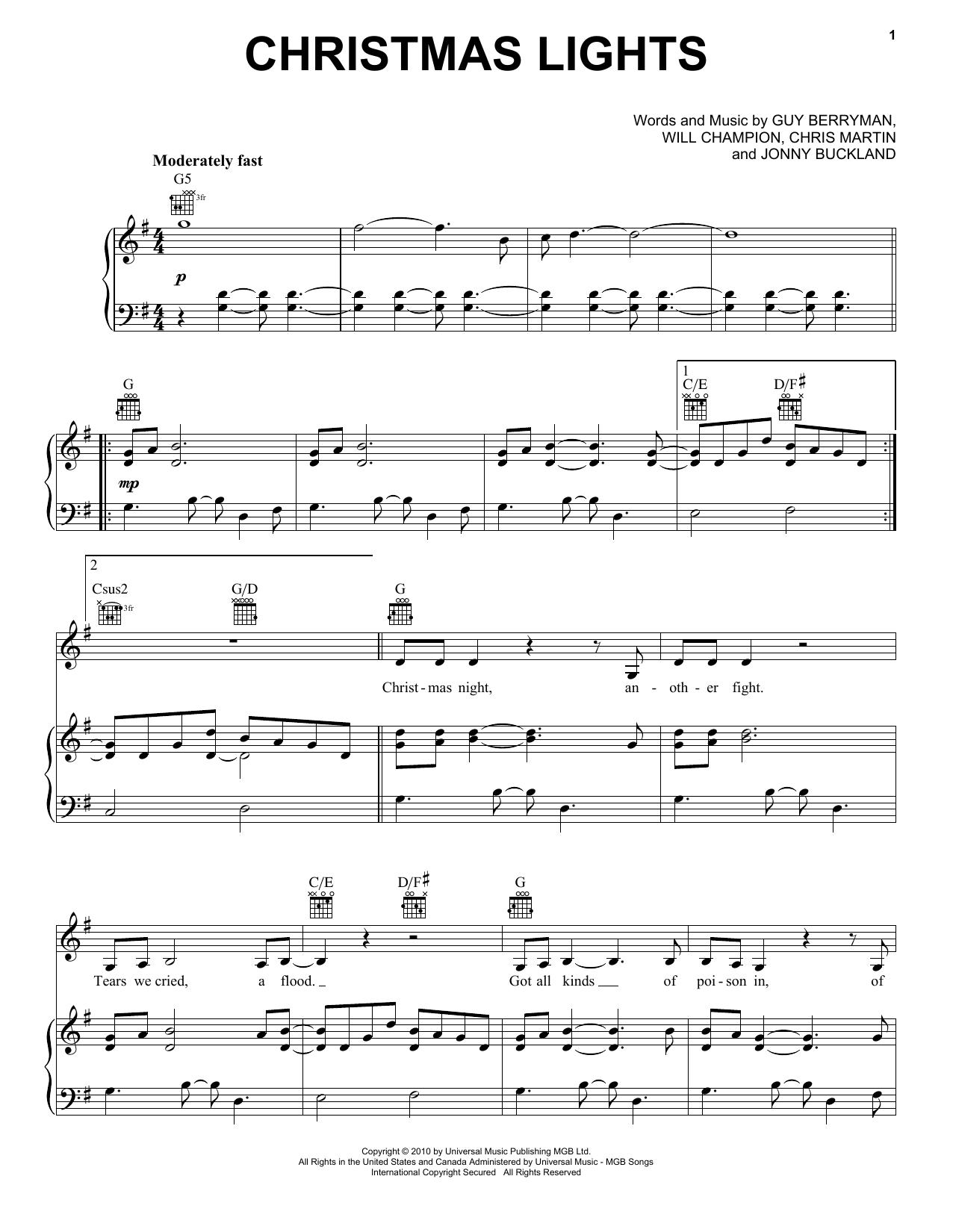 Partition piano Christmas Lights de Coldplay - Piano Voix Guitare (Mélodie Main Droite)