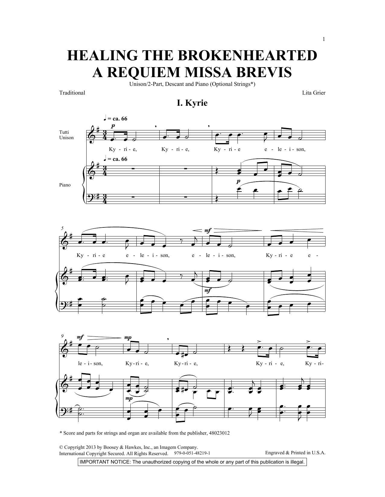 Healing The Brokenhearted (A Requiem Missa Brevis) Sheet Music