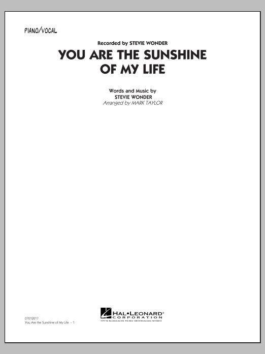 You Are the Sunshine of My Life (Key: C) - Piano/Vocal (Jazz Ensemble)