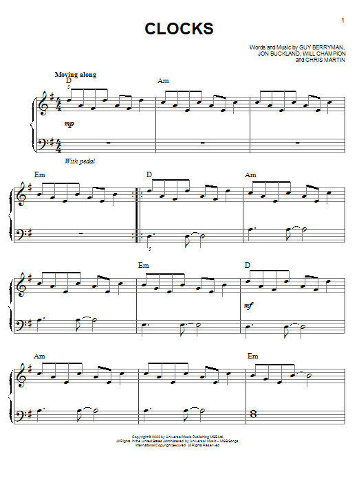 Clocks sheet music by Coldplay (Easy Piano – 150026)