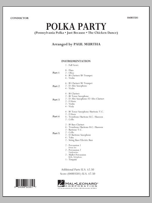 Polka Party (COMPLETE) sheet music for concert band by Paul Murtha. Score Image Preview.