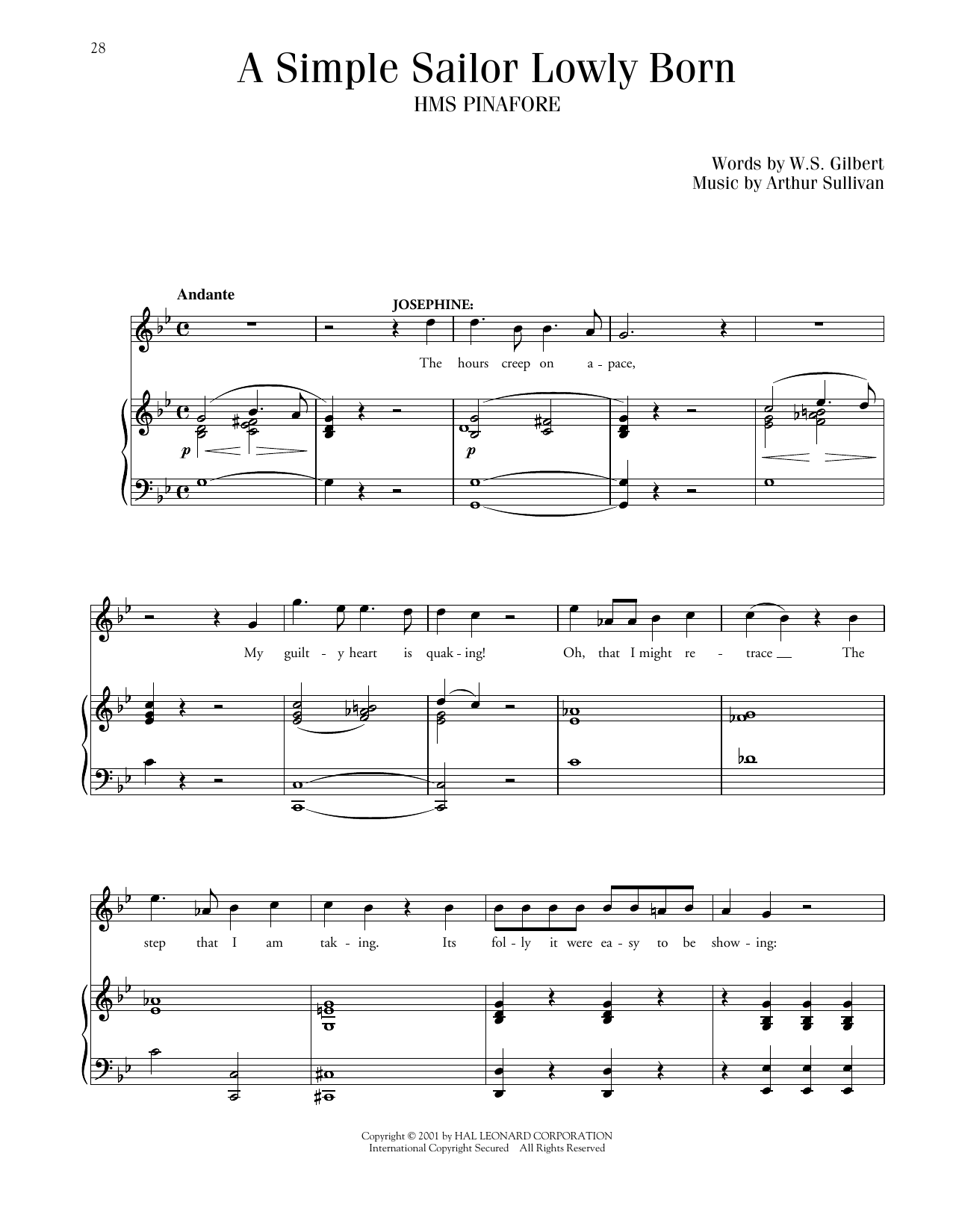 Simple Sailor, Lowly Born (from HMS Pinafore) (Piano & Vocal)