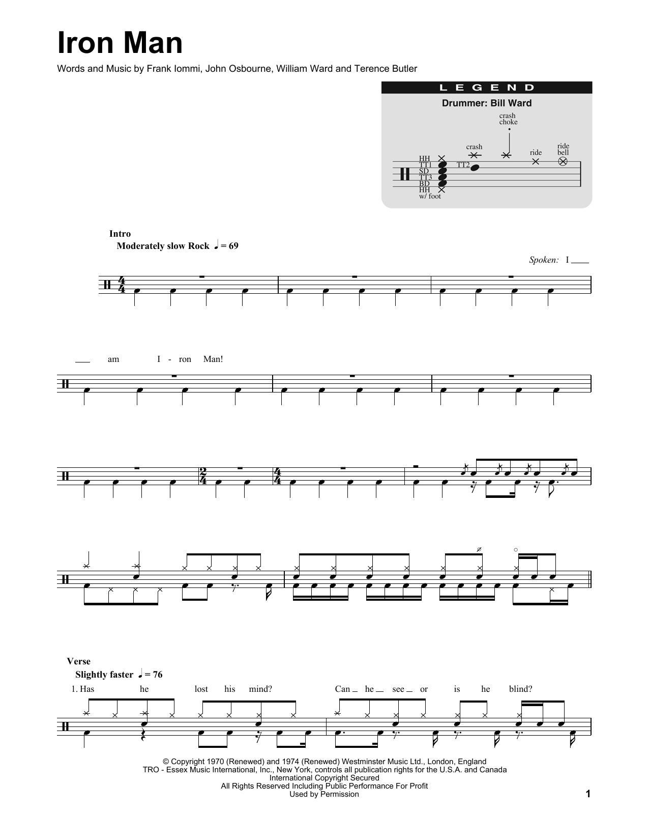 Iron Man Sheet Music