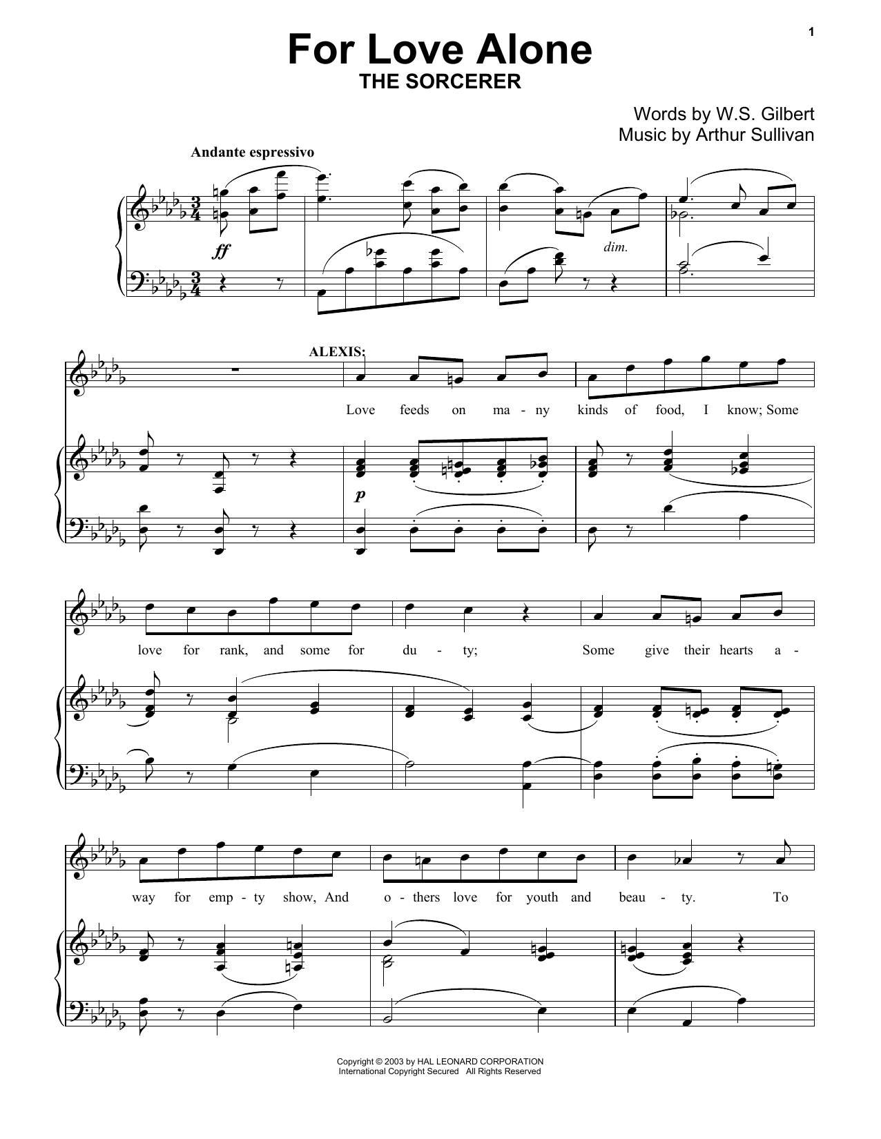 For Love Alone Sheet Music