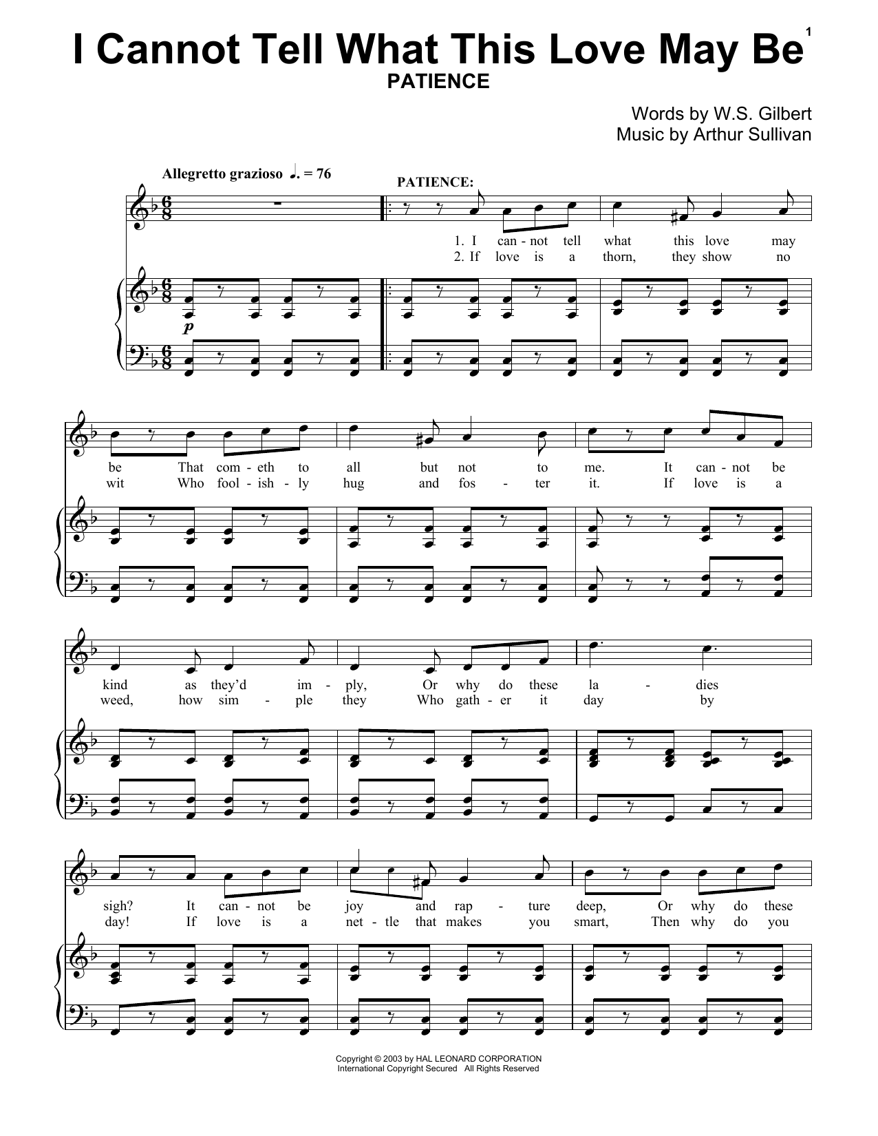 I Can Not Tell What This Love May Be Sheet Music