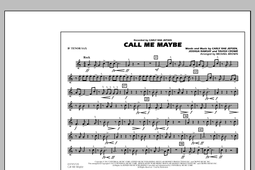 Call Me Maybe - Bb Tenor Sax (Marching Band)