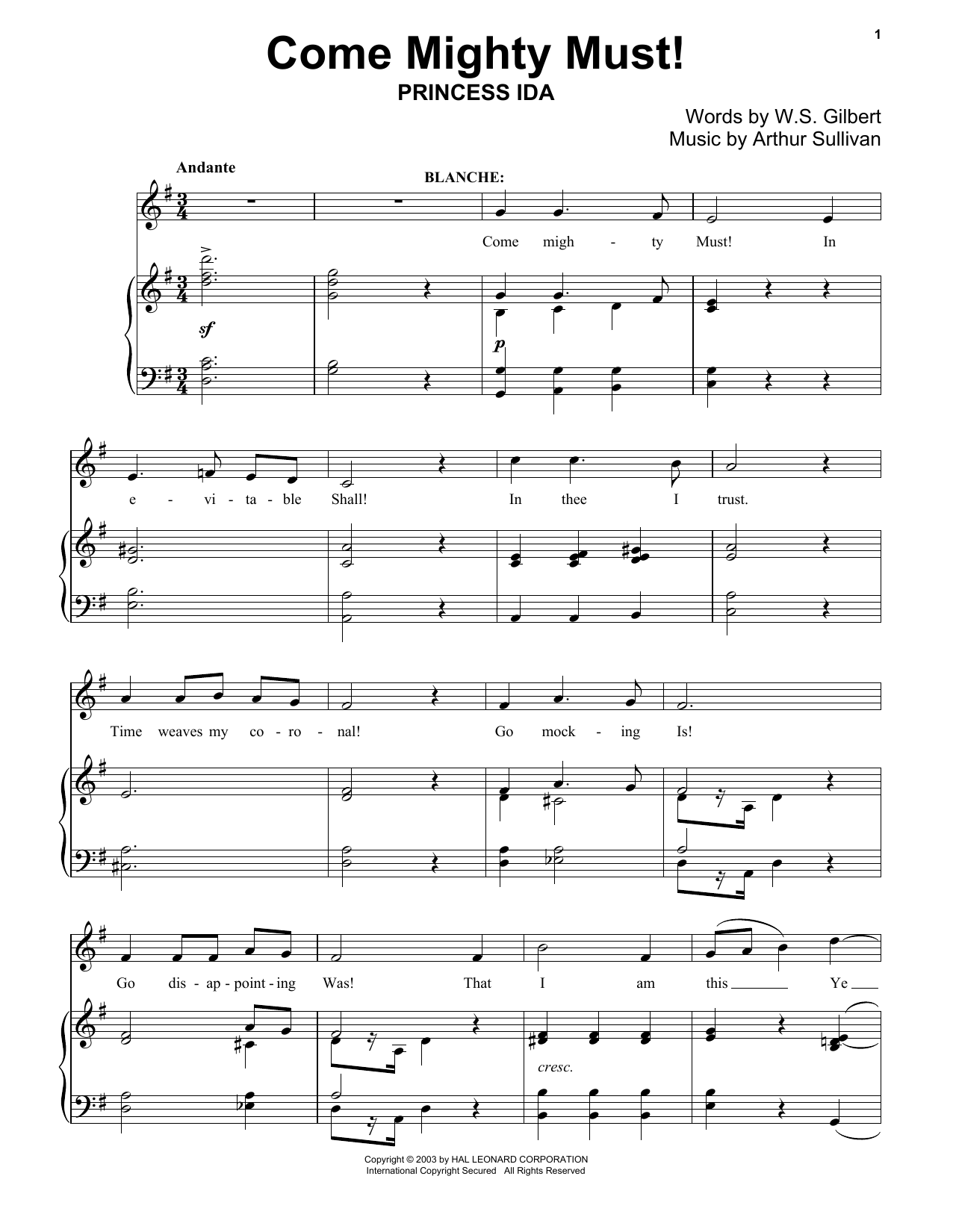 Come Mighty Must! Sheet Music