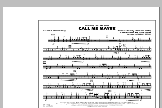 Call Me Maybe - Multiple Bass Drums (Marching Band)