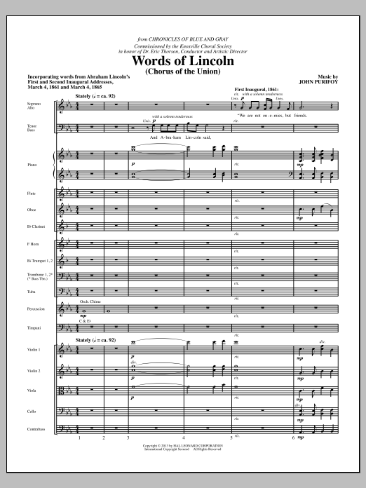 Words of Lincoln (COMPLETE) sheet music for orchestra/band by John Purifoy. Score Image Preview.