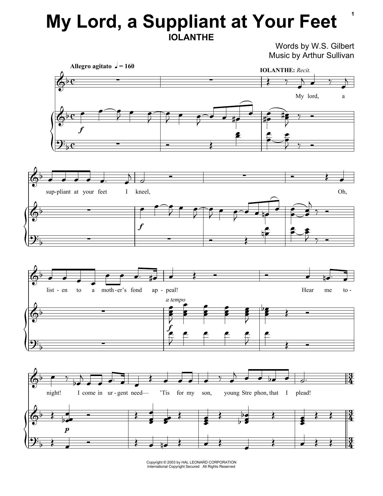 My Lord, A Suppliant At Your Feet Sheet Music
