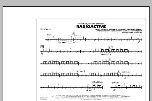 Drum drum tabs for radioactive : Radioactive - Snare Drum - Sheet Music at Stanton's Sheet Music