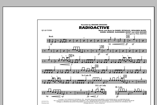 Radioactive - Quad Toms (Marching Band)