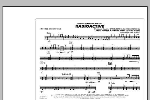 Radioactive - Multiple Bass Drums by Paul Murtha Marching Band Digital  Sheet Music