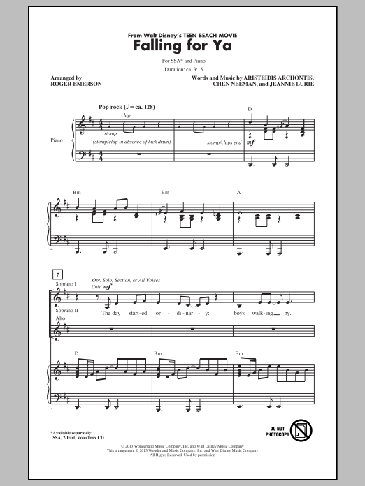 Falling For Ya (from Teen Beach Movie) (arr. Roger Emerson) Sheet Music