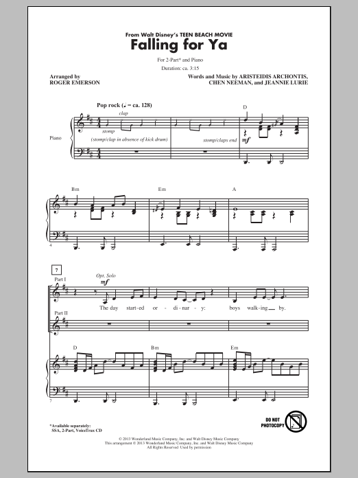 Falling For Ya (from Teen Beach Movie) (arr. Roger Emerson) (2-Part Choir)