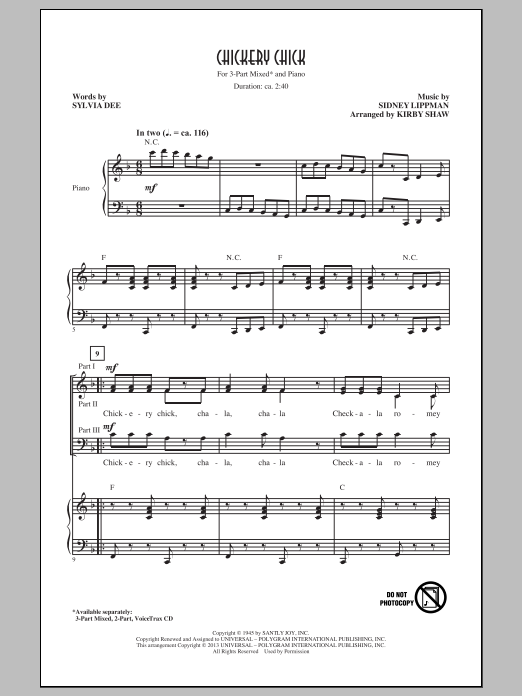 Chickery Chick (arr. Kirby Shaw) (3-Part Mixed Choir)