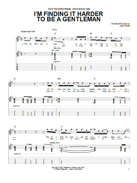 I'm Finding It Harder To Be A Gentleman (Guitar Tab)