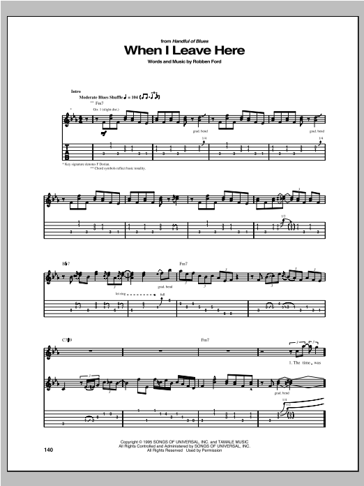 When I Leave Here (Guitar Tab)